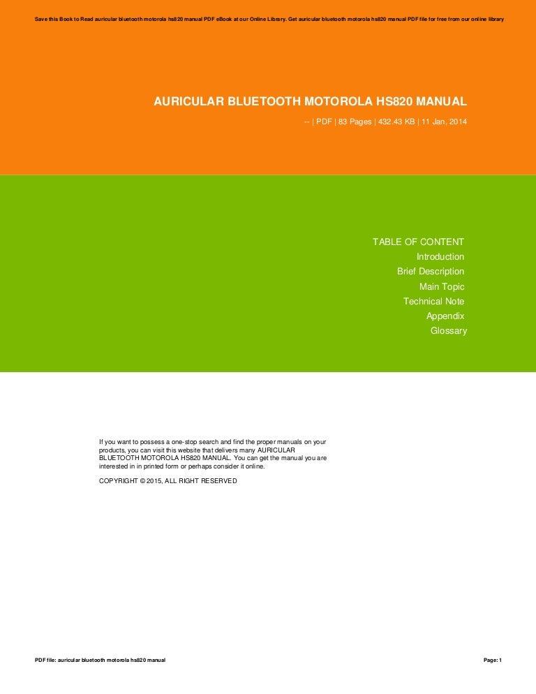 Auricular bluetooth motorola hs820 manual.