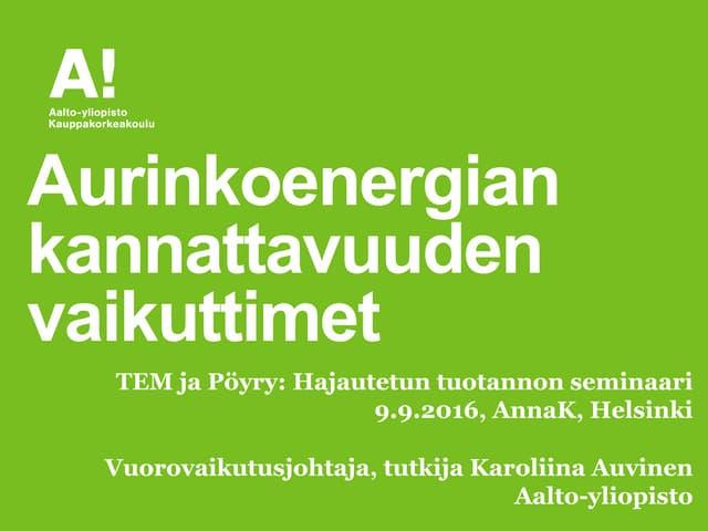 Aurinkoenergian kannattavuus tem_seminaari_auvinen_09092016