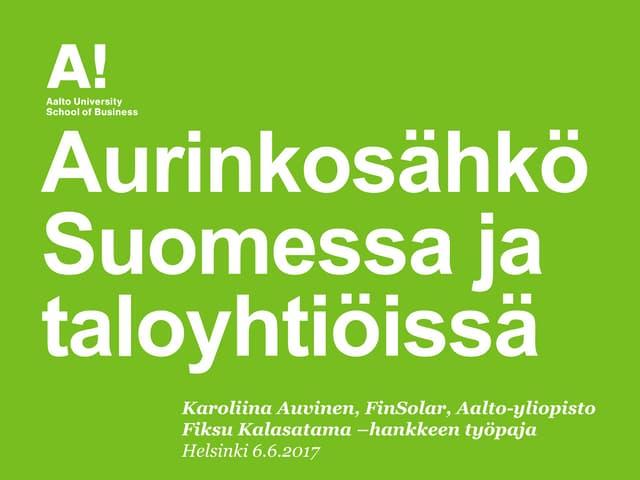Aurinkosähkö Suomessa ja haasteet taloyhtiöissä