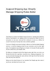 Auspost shipping app shopify  manage shipping rates better