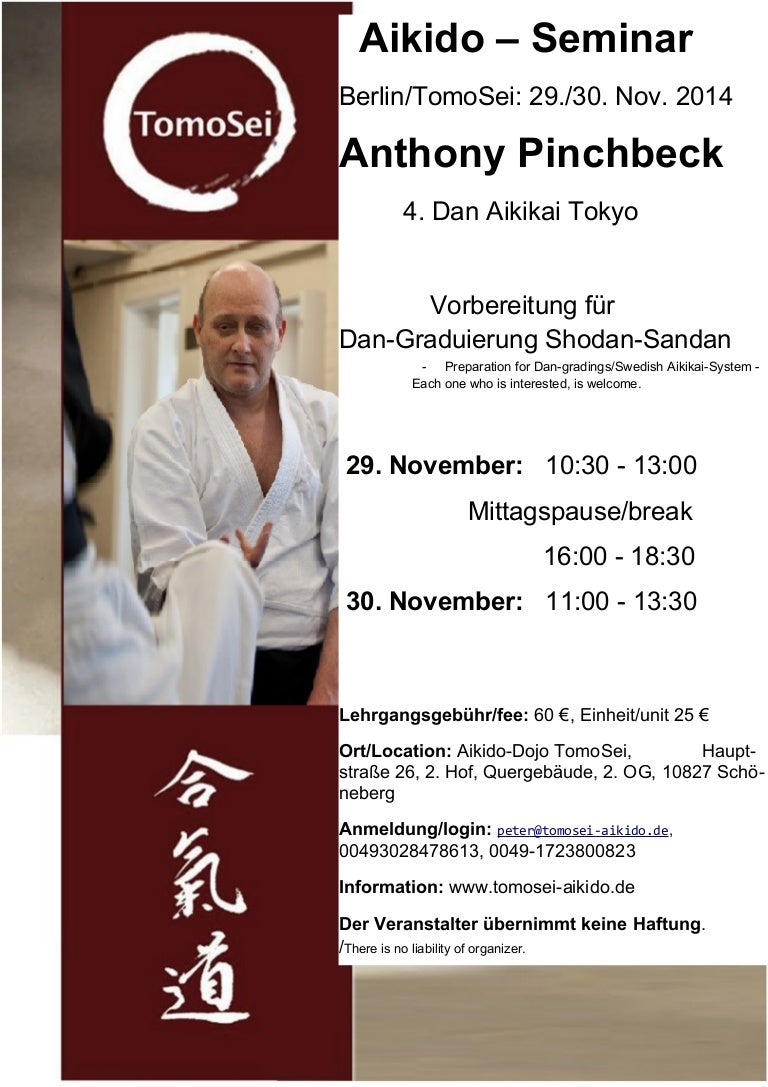 Seminar Flyer Aikido Seminar with Anthony Pinchbeck in Berlin 2014 – Seminar Flyer