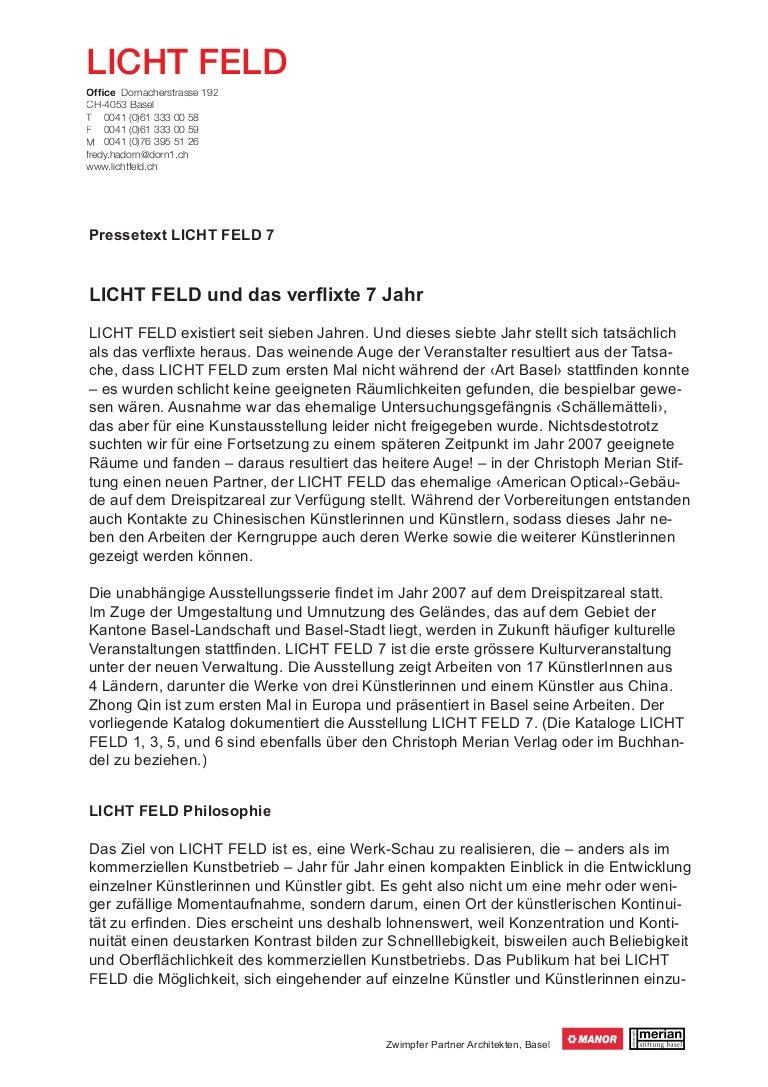 ausstellung lichtfeld 7 presseinformation - Ausformulierter Lebenslauf