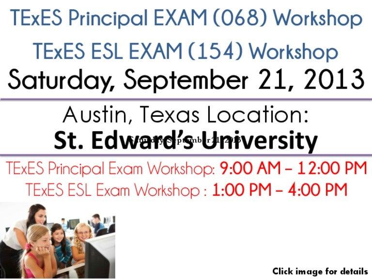 TExES Certification Exam Workshop - Austin, TX - Sat 9/21