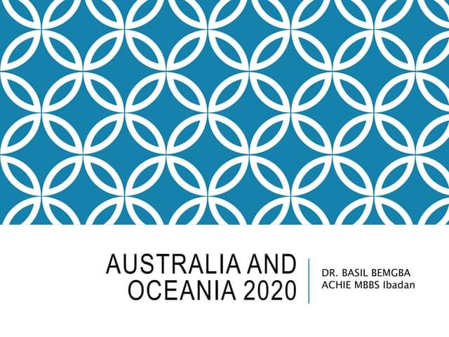 Australia and Oceania 2020
