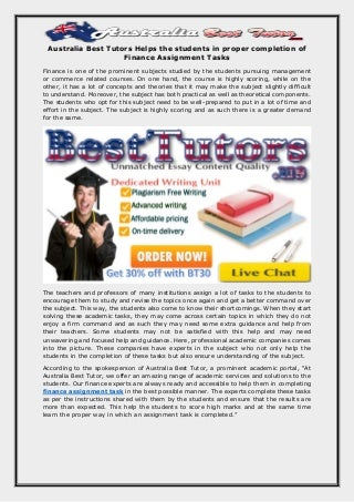 Australia best tutor helps the students in proper completion of finance assignment tasks