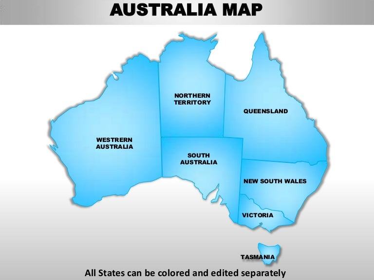 australia editable continent map with countries