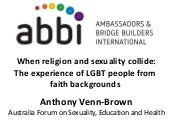 When Religion and Sexuality Collide - Australia forum on sexuality, education and health 2015 Western University
