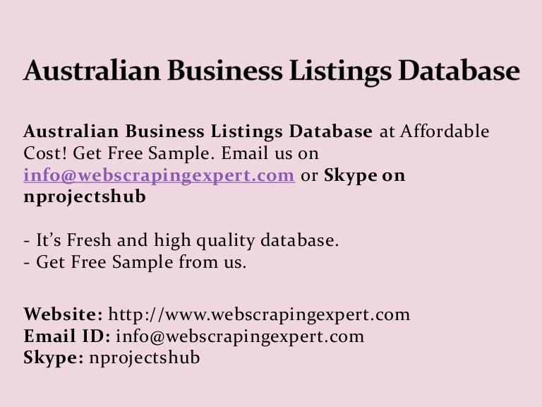 Australian Business Listings Database
