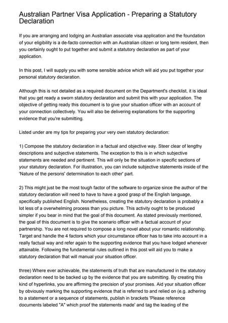 Australian partner visa application preparing a statutory declarati altavistaventures Image collections