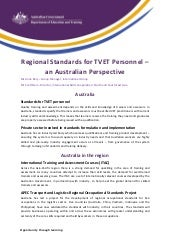 Session V: Regional Standards for TVET Personnel and Australian Perspective
