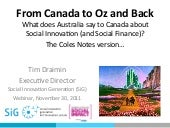 Australian social innovation from a Canadian social innovation perspective