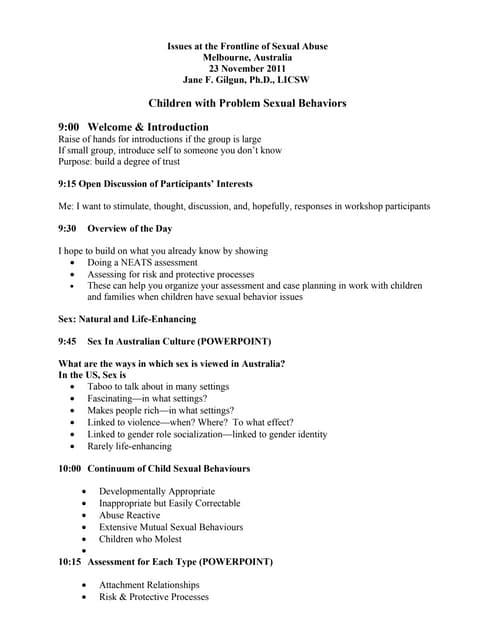 Children with Problem Sexual Behaviours: Assessment & Treatment