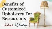 Benefits of Customised Upholstery for Restaurents