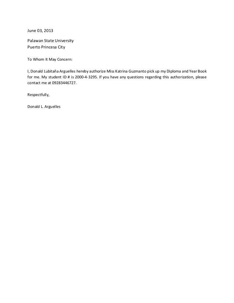 Authorization Letter Authorization Letter