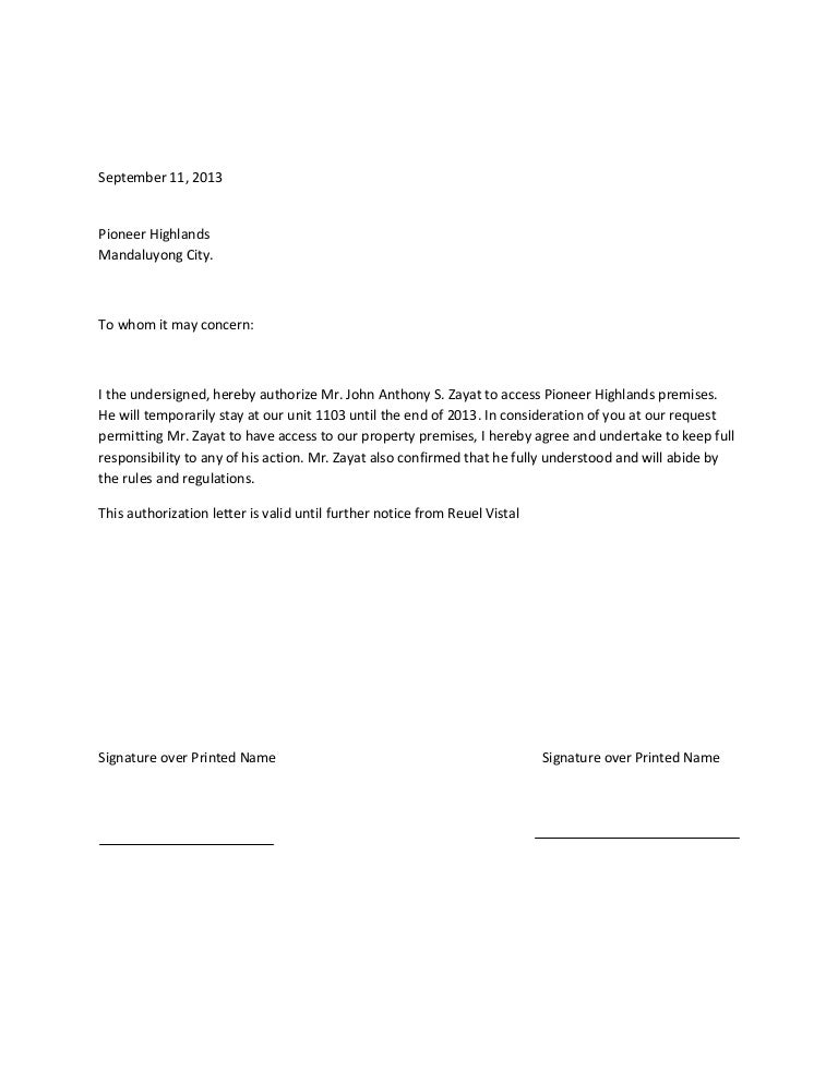 Authorization Letter Tor Maiauthorization Letter. Authorization