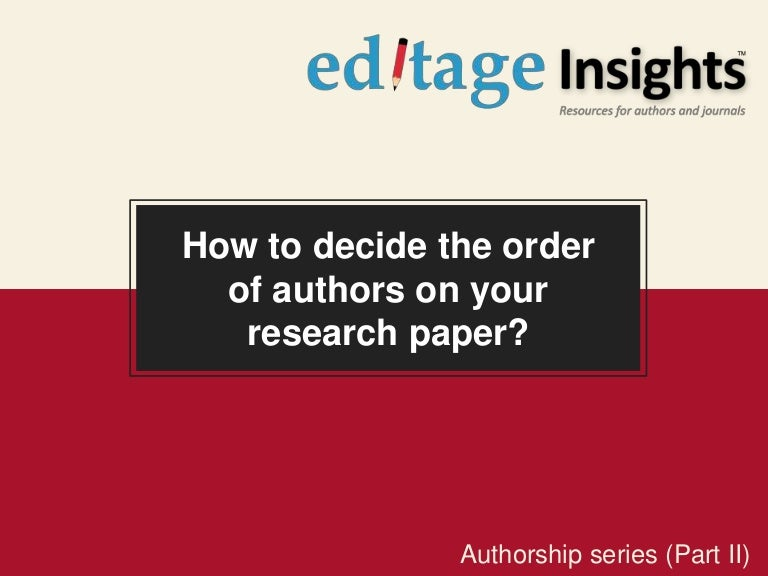 Order of authors on research papers