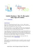 Autistic tendency   how to recognize early signs of autism