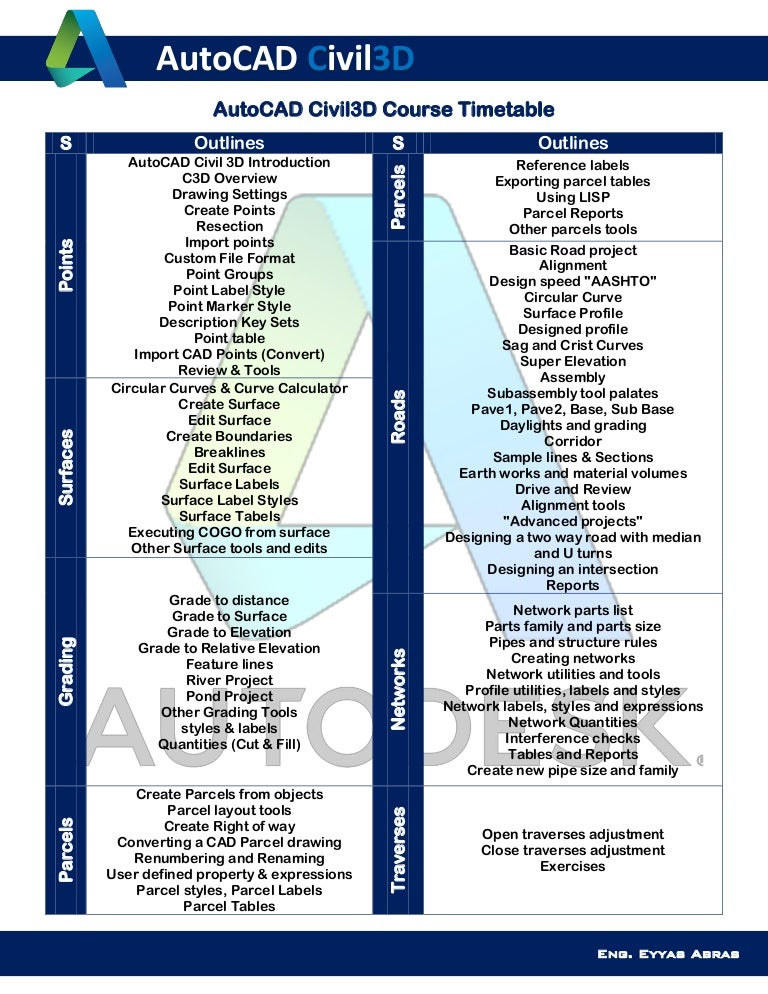 AutoCAD Civil 3D Timetable