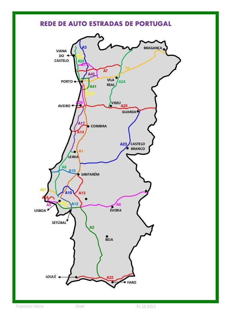 mapa de portugal com autoestradas Auto estradas 2012 mapa de portugal com autoestradas