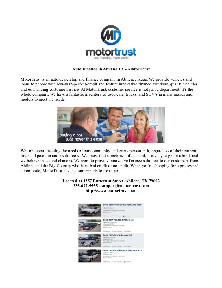 Innovative Auto Finance >> Auto Finance In Abilene Tx Motor Trust