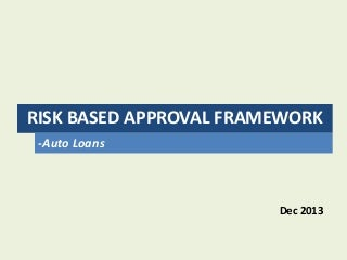Risk Based Loan Approval Framework
