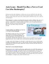 Auto loans   should you buy a new or used car after bankruptcy