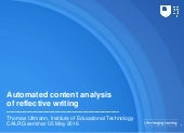 Automated content analysis of reflective writing