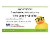 Geek Sync | Automating Database Administration Is No Longer Optional