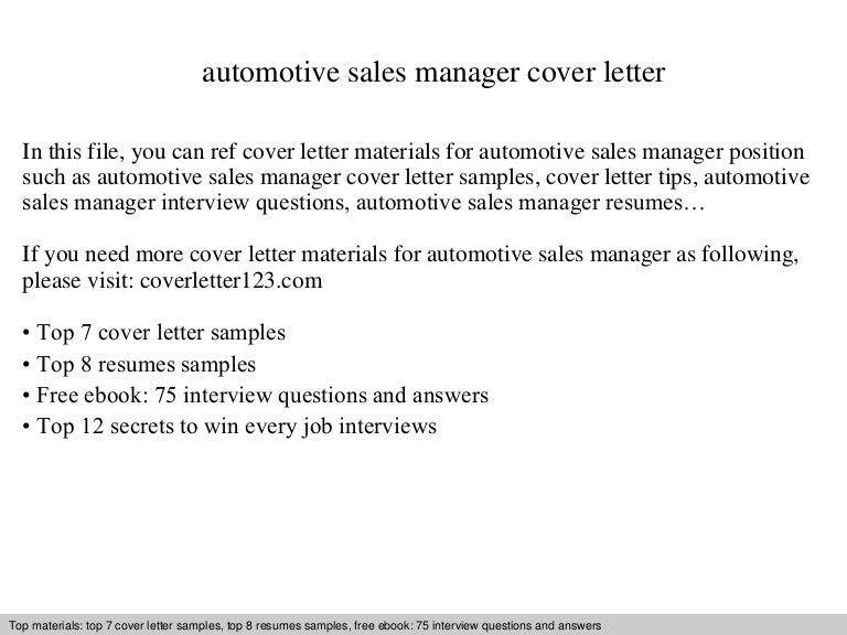 Automotive sales manager cover letter
