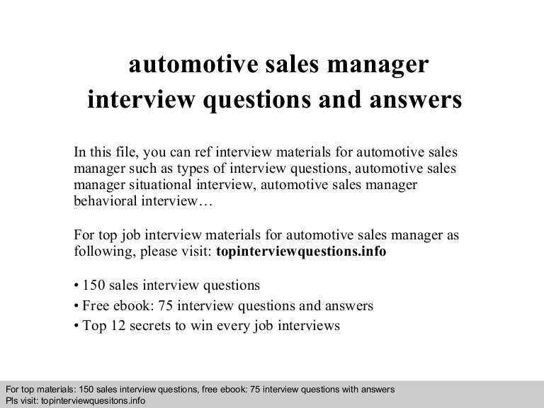 automotive sales manager interview questions and answers