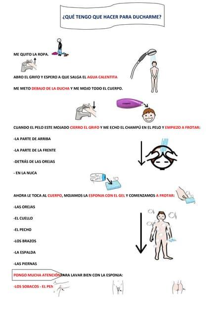 Autonomía personal: la ducha EXPLICACIÓN DE LOS PASOS