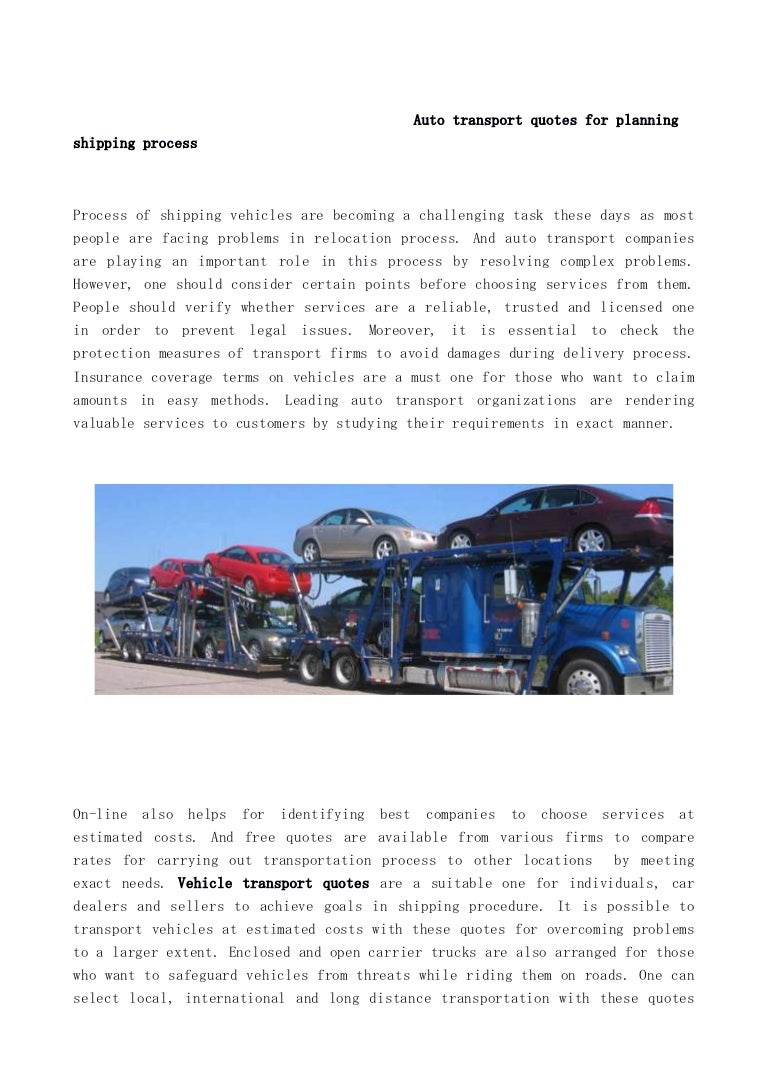 Auto Transport Quotes Auto Transport Quotes For Planning Shipping Process