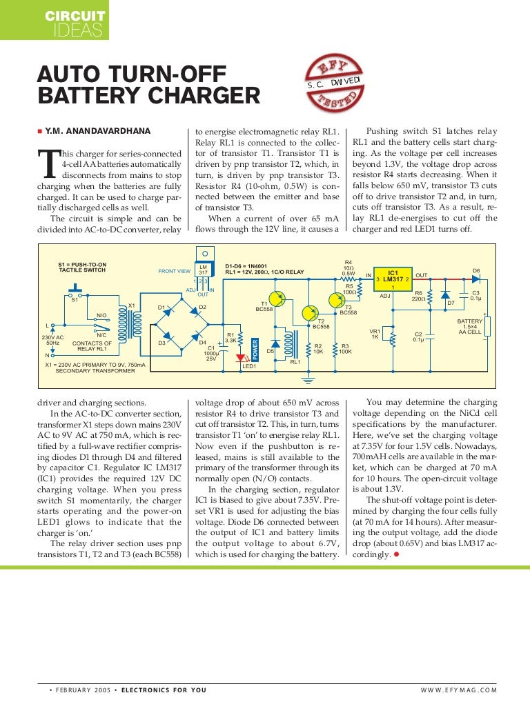 Auto Turn Off Battery Charger Circuit Using Lm317