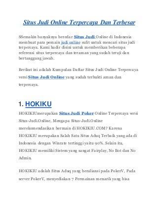 Daftar Situs judi online terpercaya dan terbesar