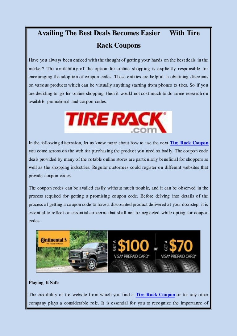 Tire Rack Coupon Code >> Availing The Best Deals Becomes Easier With Tire Rack Coupons