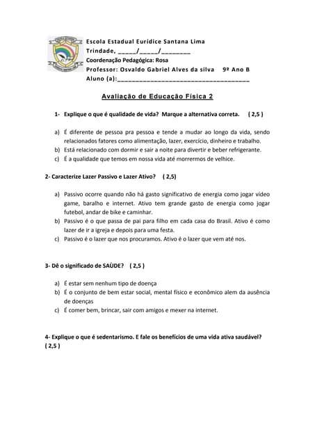 e0a45aca76 Avaliação de educação física 9º ano