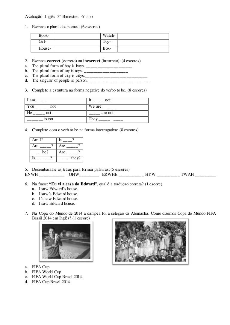 d48453f20 Avaliação inglês 3º bimestre 6