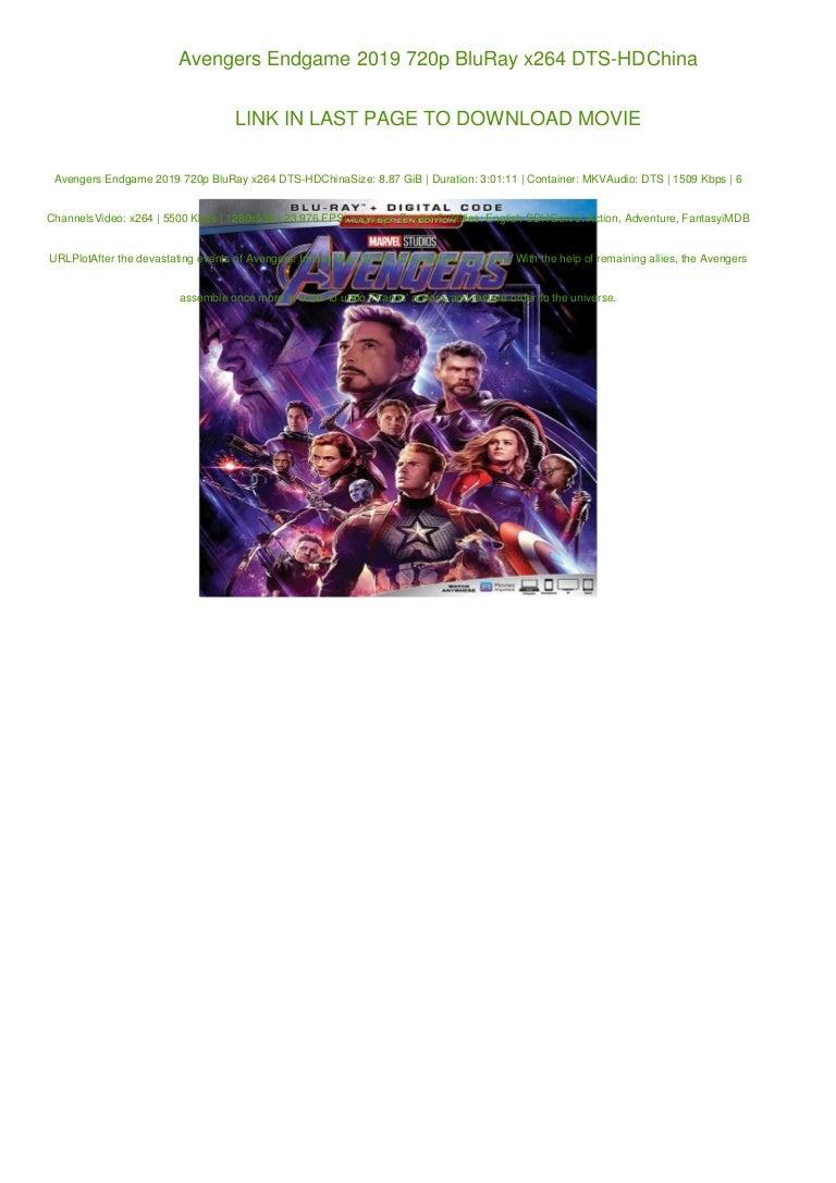Avengers Endgame 2019 720p Bluray X264 Dts Hdchina
