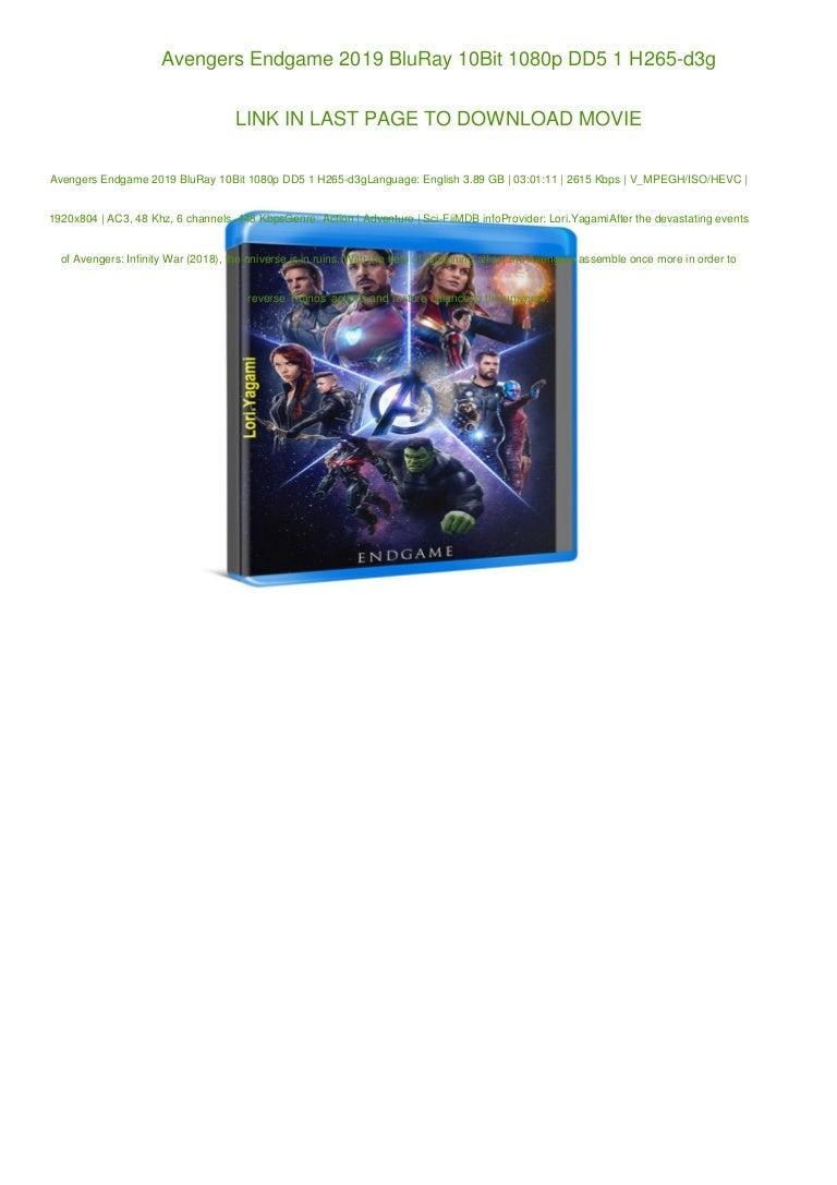 Avengers Endgame 2019 Bluray 10bit 1080p Dd5 1 H265 D3g