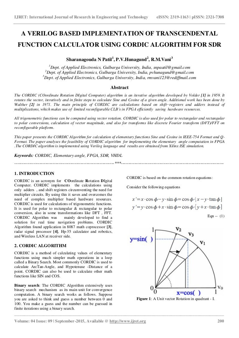 A verilog based implementation of transcendental function calculator …