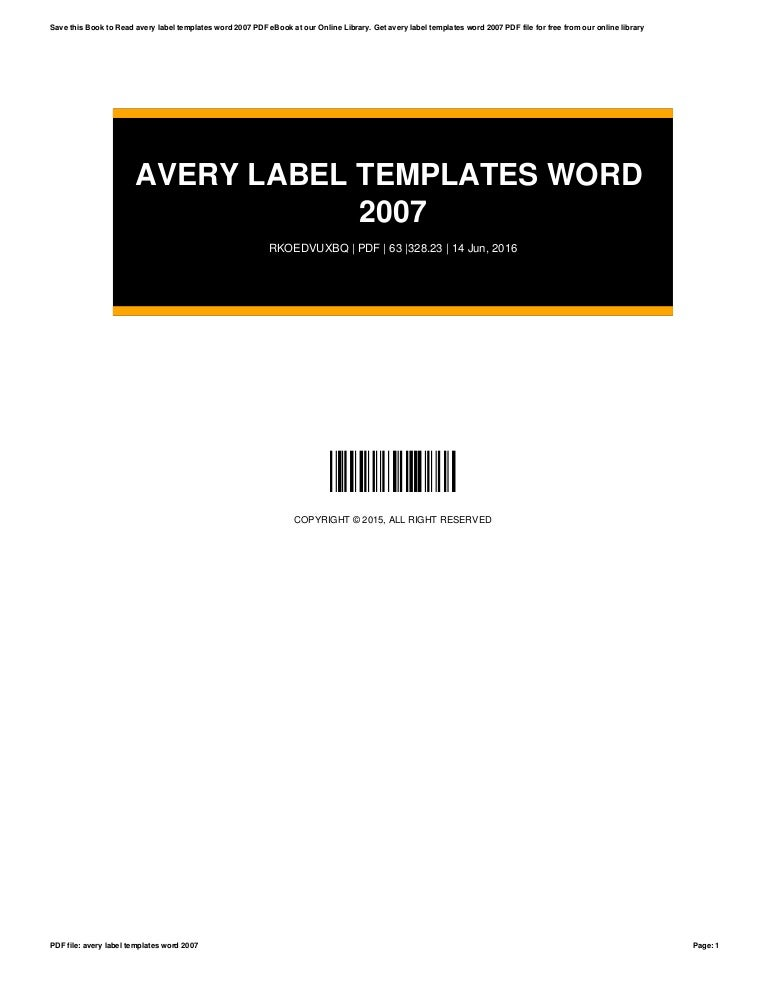 Avery Label Templates Word 2007