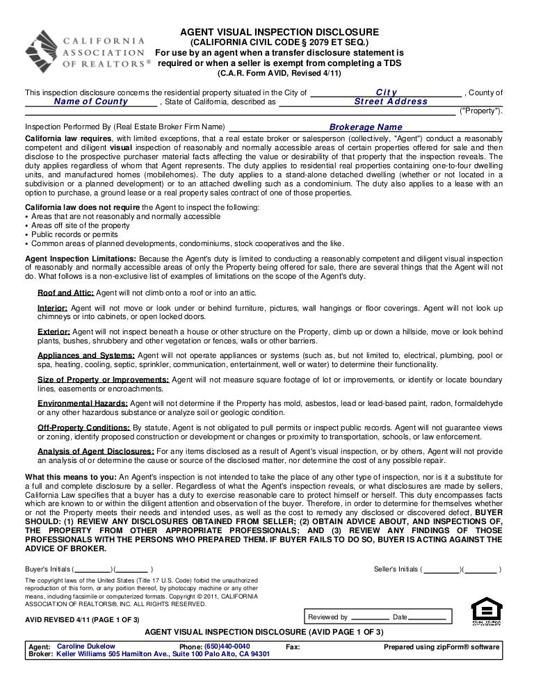 Avid Agent Visual Inspection Disclosure 411