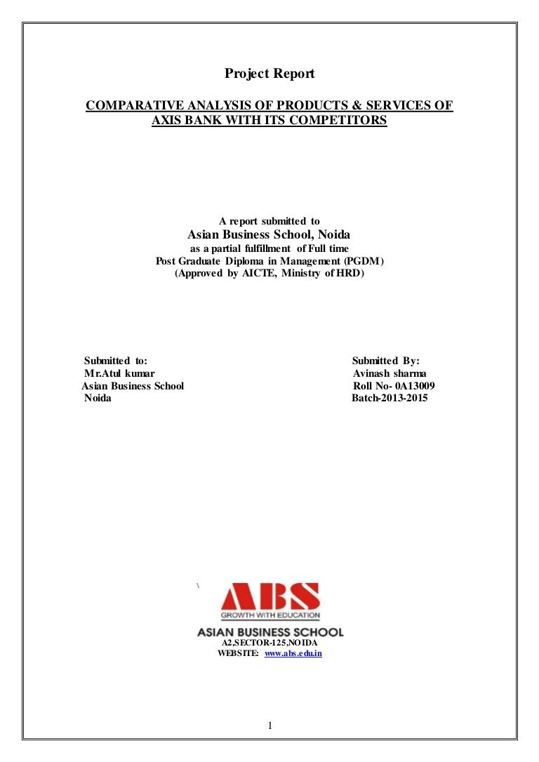 Project report on home loan of axis bank