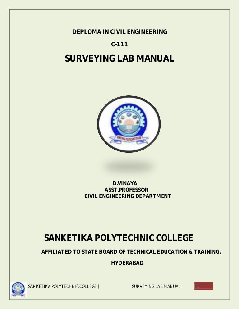 Lab manual for civil diploma array avinesh surveying lab manuals rh slideshare fandeluxe Image collections