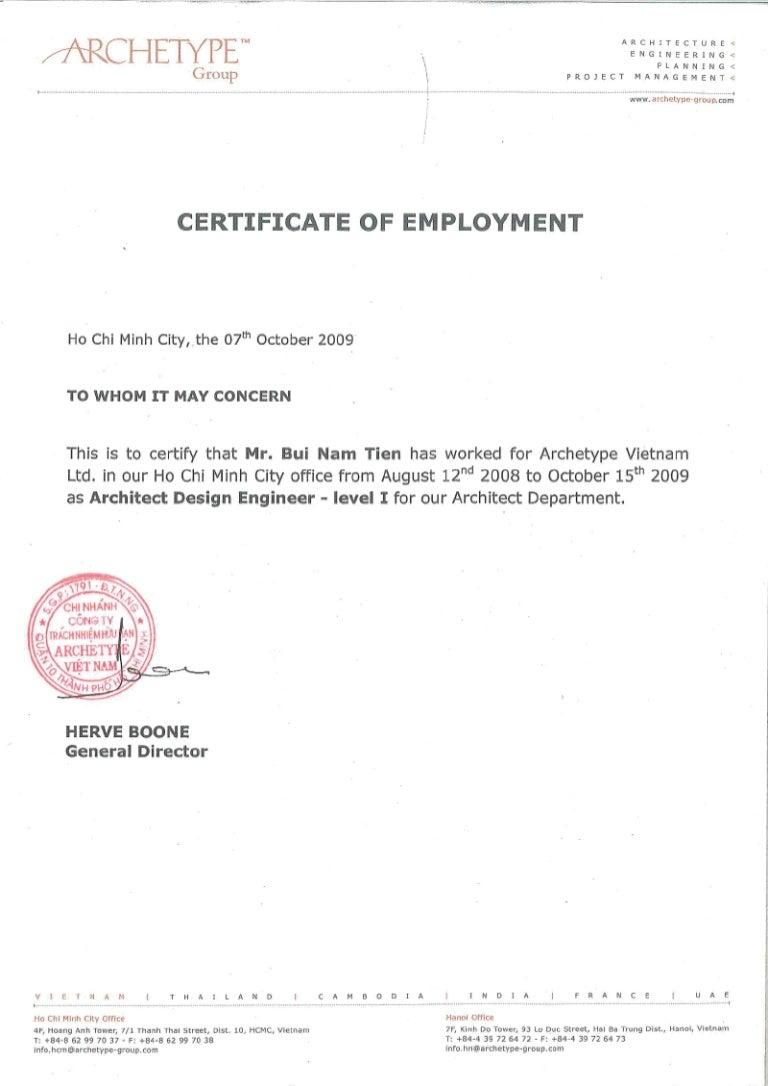 Archetype Vietnam Certificate Of Employment