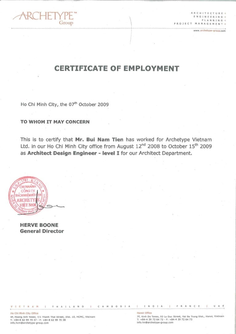 Archetype Vietnam Certificate of Employment – Sample of Certificate of Employment