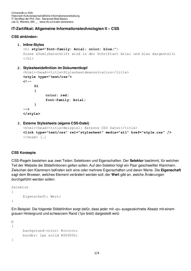 IT-Zertifikat: Advanced Web Basics - Handout CSS
