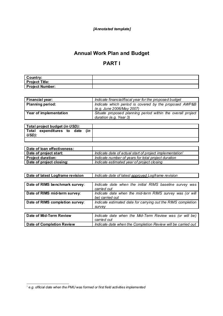 Annual Work Plan Budget Part 1