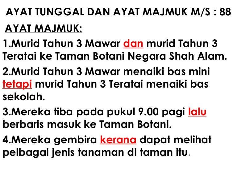Ayat Tunggal Dan Ayat Majmuk Ms 88 Latihan Tambahan