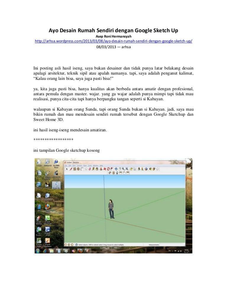 Ayo Desain Rumah Sendiri Dengan Google Sketch Up